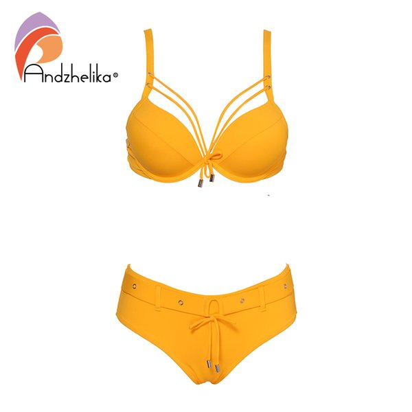 Andzhelika Amarelo Conjunto Biquíni Sólida Mulheres Sexy Bandage Swimsuit 2019 Nova Push Up Biquíni Maiô Swimwear Feminino Biquini Y19062801