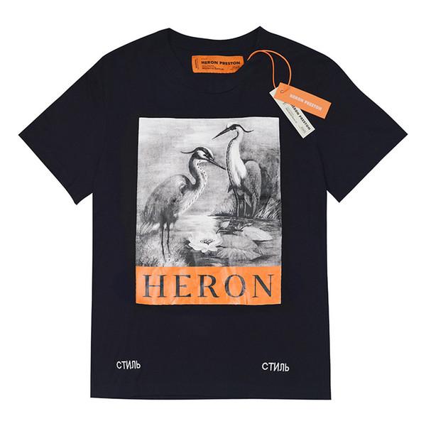 Heron Preston Tasarımcı T Gömlek Yüksek Kalite Lüks T Gömlek Heron Preston Erkek Kadın Vinç Baskılı Hip Hop Kısa Kollu S-XL