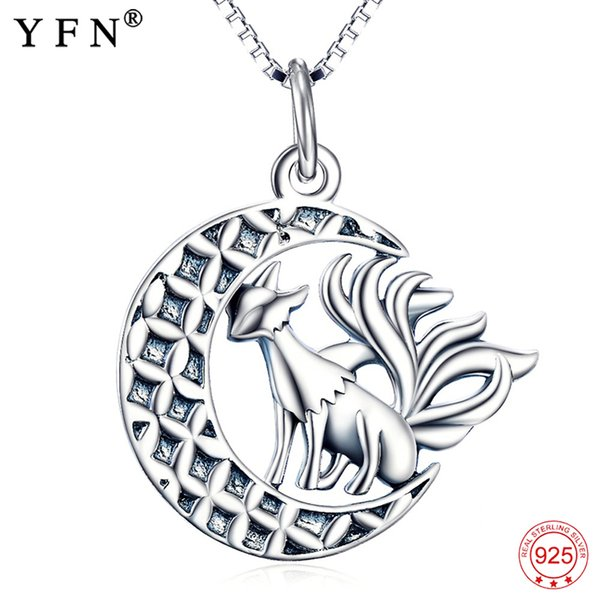 Animal Necklace 925 Sterling Silver Jewelry Halloween Nine Tail Fox Pendants Necklaces With Moon Silver Jewelry For Women J190530