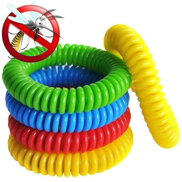 Federdraht Moskito Telefon Ring Kette abweisend Armband Kunststoff Frühling Armband Mückenschutz Armband Bands A074