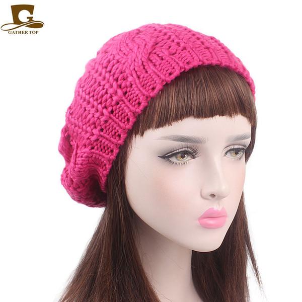 DHL HOT Donna berretti a maglia Inverno caldo berretti a maglia moda morbida donna cappelli di lana Berretto attorcigliato berretto lavorato a maglia da donna Berretto