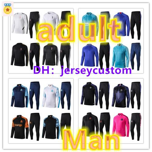 best selling 19 20 psg Men football tracksuit set Real madrid soccer training suit man 2019 2020 MBAPPE survetement de foot chandal Football jogging