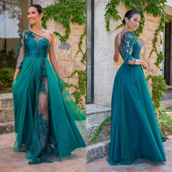 2020 Chic Turquoise Lace Bridesmaid Dresses One Shoulder A Line Sheer Long Sleeve Plus Size Country Maid Of Honor Gowns Prom Dress Chiffon Bridesmaid