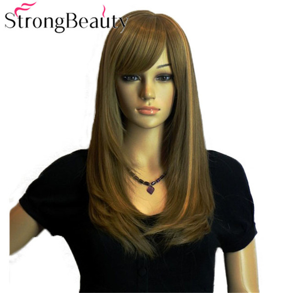 Long Straight Blonde Brown Wigs Girl Cosplay Hair Oblique Bangs Full Hair Wigs