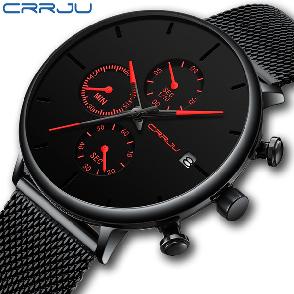 CRRJU Men Watch Reloj Hombre 2019 Mens Watches Top Brand Luxury Quartz Watch Big Dial Sport Waterproof Relogio Masculino