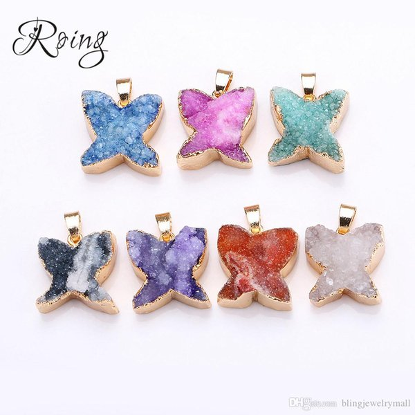 Roing 7 Color 100% Natural Crystal Butterfly Pendant Women Unisex Jewelry Gift Crystals Charm For DIY Jewelry Making C010