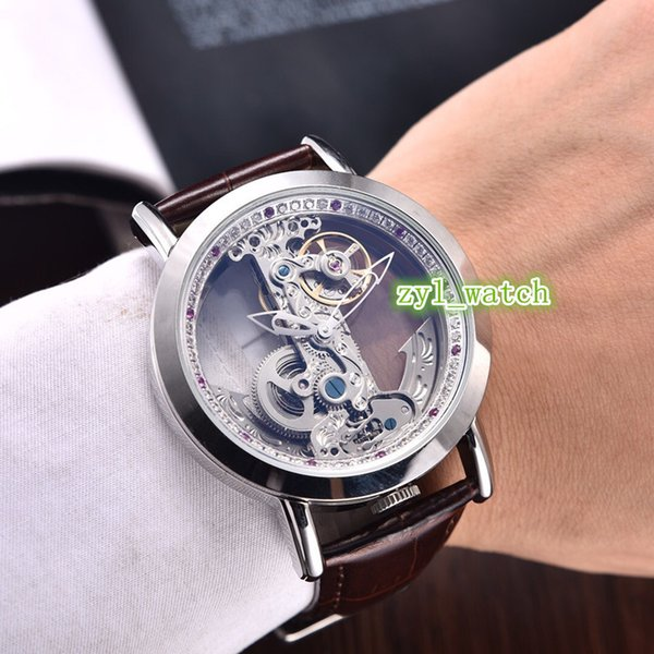 Бутик мужские простые наручные часы полые часы кожаный ремешок часы автоматические механические спортивные часы бесплатная доставка