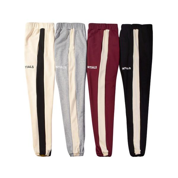 Tanrı korkusu Sweatpants Erkek Kadın Moda Panalled Uzun Pantolon Essentials Mektup Baskı 4 Renkler İpli Pantolon Yüksek Sokak Çift Giysileri
