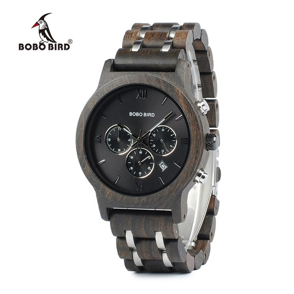 Chronograph Bobo Bird Men Watch Relogio Masculino Calendar Quartz Watches Wood Luxury Timepieces In Wooden Gift Box C-p19 Y19052201