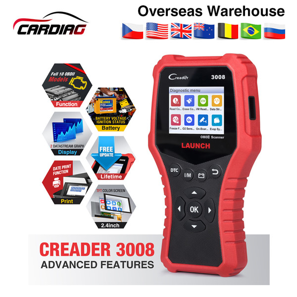 New LAUNCH Creader 3008 Scanner support full obd2 + Battery tester function CR3008 OBDII code reader diagnostic tool free update