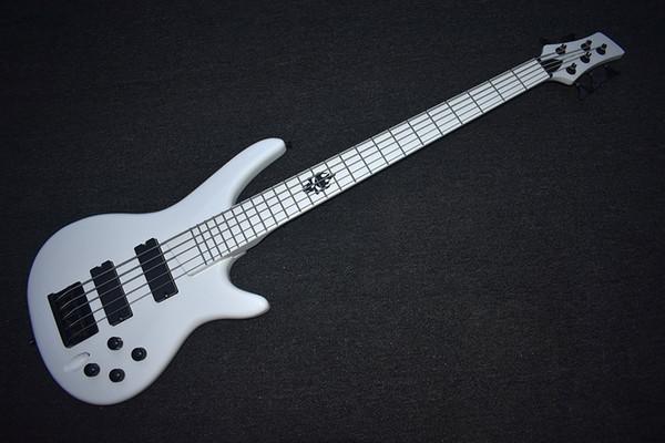 best selling Factory Custom White Electric Bass Guitar with 5 Strings,Black Hardware,White Fretboard,High Quality,Can be Customized