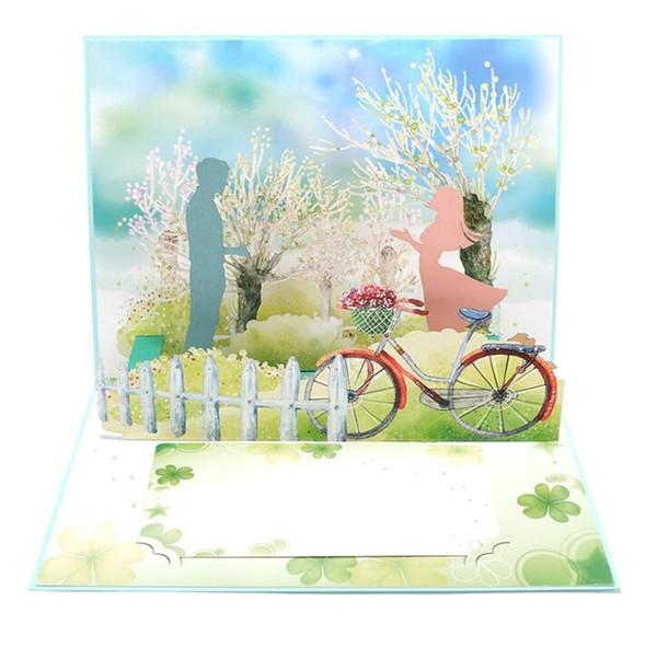 Románticas tarjetas de felicitación de corte de papel hechas a mano en 3D para el banquete de boda.