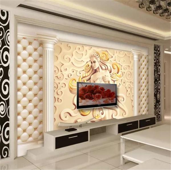 Acheter 3d Papier Mural De Style Européen De Luxe Relief 3d Stereo Caractère Romain Colonne Peinture Murale Décoration D Intérieur Beau Papier Mur De