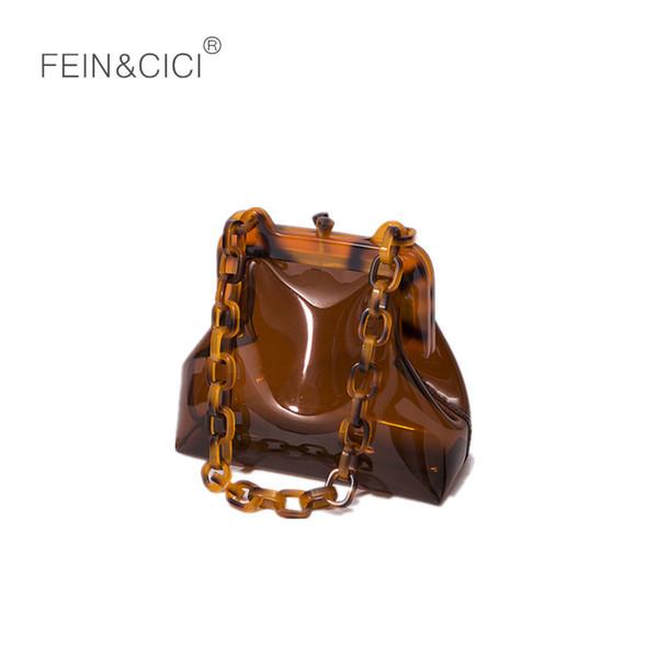 Limpar tote de plástico pvc saco de balde cadeias De Acrílico do partido do vintage Clutch mulheres bolsa transparente bolsa de ombro bolsa de 2018 japão moda