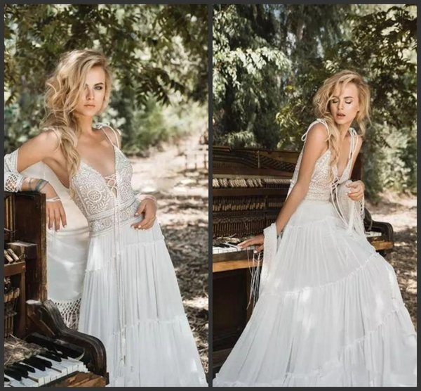 New Inbal Raviv Bohemian Beach Wedding Dresses with Wrap Jacket Modest Spaghetti Vintage Crochet Lace Chiffon Wedding Bridal Gowns Cheap