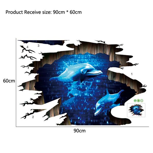 3d dunkelblau traum delphin boden aufkleber bad wohnzimmer boden dekoration wandbild wandaufkleber wohnkultur aufkleber tapete
