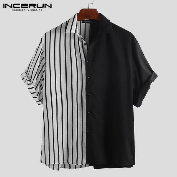 INCERUN 2019 Camicia da uomo patchwork a righe di moda manica corta abbottonatura allentata personalità hip-hop camicie casual da uomo Camisa