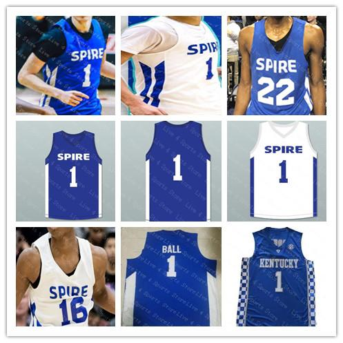 Men Spire Institute 1 LaMelo Ball High School Basketball Jerseys White Royal Blue Stitched Kentucky Wildcats LaMelo Ball Jersey Good S-3XL