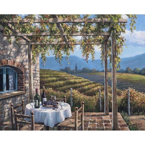 Ручная роспись средиземноморских картин Виноградник Терраса картина современного искусства для декора комнаты