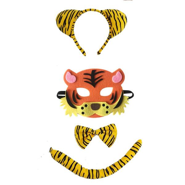Tiger Tier Stirnband Fliege Schwanz Maske Cosplay Set Leistung Requisiten Party Weihnachten Halloween Kostüm für Kinder Geschenk
