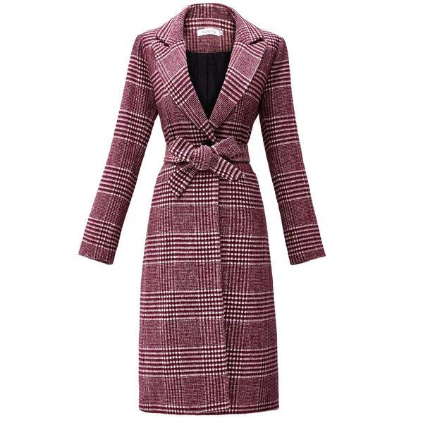 New Winter in tartan di lana lungo cappotto delle donne KAMAZING tasca della falda spacco sul retro Fodera design