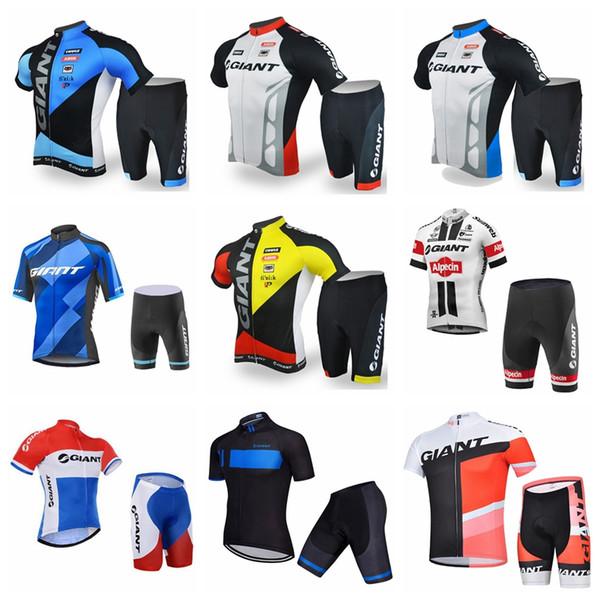 Гигантская команда лето Велоспорт короткие рукава Джерси шорты наборы мужская дышащая и быстросохнущая Велоспорт одежда костюм Q62435