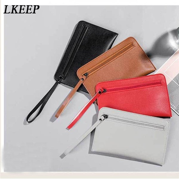 2019 New Zipper Wallet Case Ladies Casual Hand Take Wallet Simple Small Handbag Leather Coin Purse Mobile Phone Bag Purse