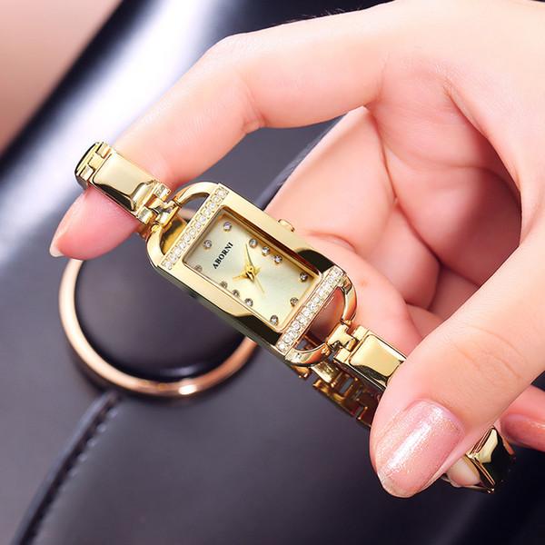 2019 gold armband frauen armbanduhren luxus strass kristall quarz damen kleine uhr stahl weibliche uhr in ganz verkauf
