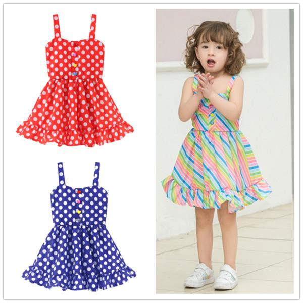 Kids Baby Girls Summer Rainbow Sling Dress Sleeveless Party Beach Dress Clothes