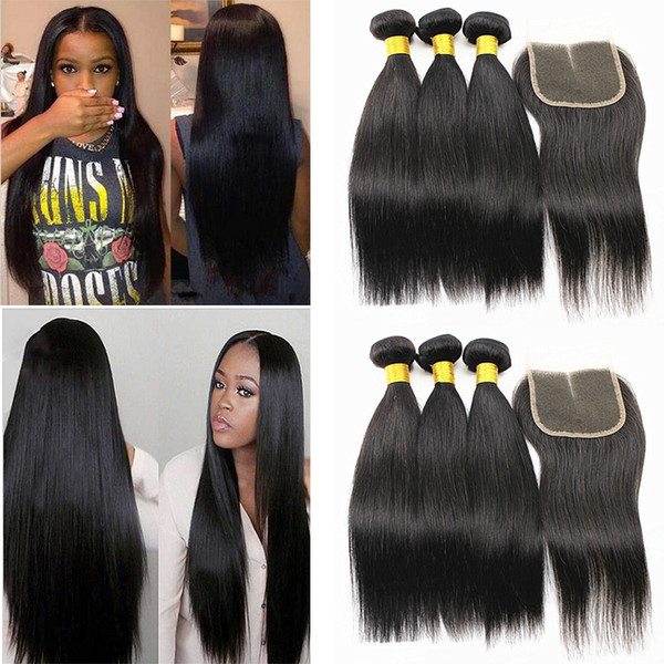 Extensões de cabelo em linha reta com 4x4 cabelo encerramento peruano indiano 100% não transformados cabelo humano feixes com fechamento de parte livre 8-28inch