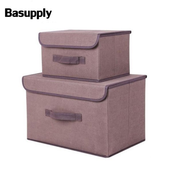 BASUPPLY 2 Sizes Non-woven Fabric Folding Storage Box With Cap Clothes Sock Toy Snacks Sundries Cosmetics Organizer