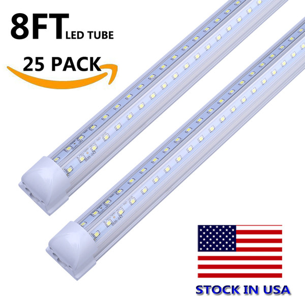 8FT 72W V Double Rows Clear Cover