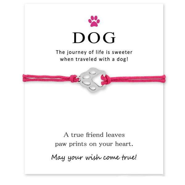 New Cartoon Dog Paw Handmade Rope Charm Bracelets for Women Men Friendship Statement Wish Jewelry Gift With Card