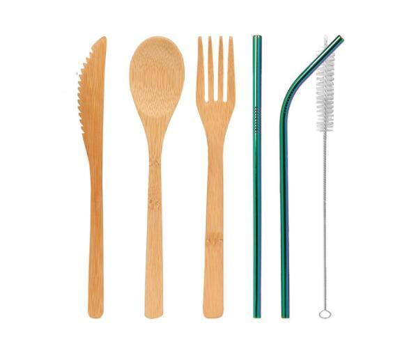 DHL Bamboo Cutlery Set 5Pcs/Set and 3pcs/Set spoon Fork Knife straw brush Flatware Dinnerware Set home Dining Kitchen Cooking Tool