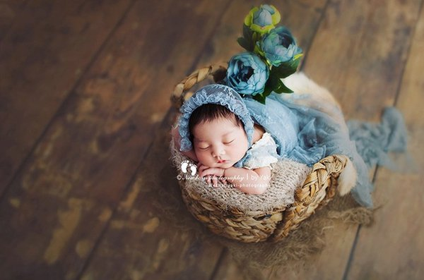 fotografía recién nacido apoyos apoyos cesta Bebé retro cesta de mimbre trenzado de material natural