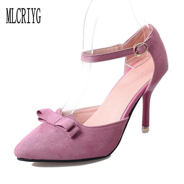 Dress Shoes 2019 New Women Bow Knot Pumps High Heels Elegant Wedding Party Bride Dress Woman Cute Pink Classic Wild Female Footwear