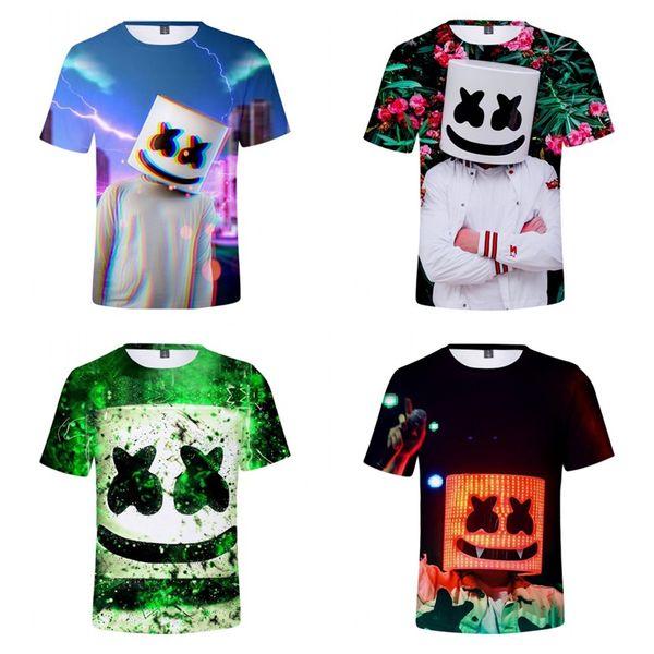 Tono Periférico DJ Marshmello Camiseta Impresión Digital Manga Corta Cuello Redondo 14 Estilos Verano Niño y Adulto Hogar Ropa 23hjE1