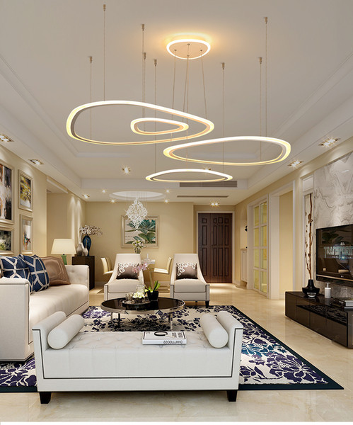 Modern Ring LED Pendant Light DIY Install Acrylic Chandeliers Lighting  Fixture For Living Room Dining Room Bedroom Hall Star Pendant Light 3 Light  ...