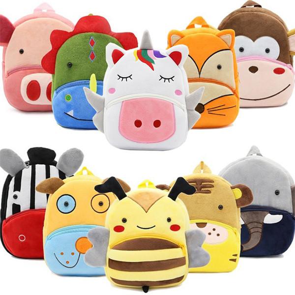Zaini scuola ragazze peluche carino Unicorno scuola materna cartone animato 3D sacchetti di scuola per bambini animali giocattoli borsa infantes mochila 2-4