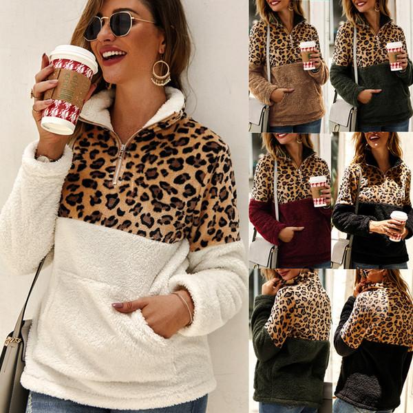 best selling Women Leopard Patchwork Pullover Long Sleeve Zipper Sherpa Sweatshirt Soft Fleece Outwear with Pockets Tops Hoodie coat LJJA3035