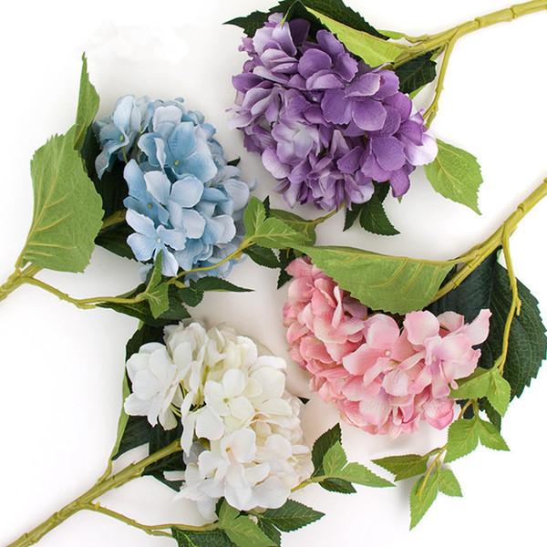 Parti Düğün Centerpieces Ana Çiçek RRA2390 Yapay Ortanca Çiçek Başlı 47cm Fake İpek Tek Gerçek Dokunmatik Hydrangeas Malzemeleri