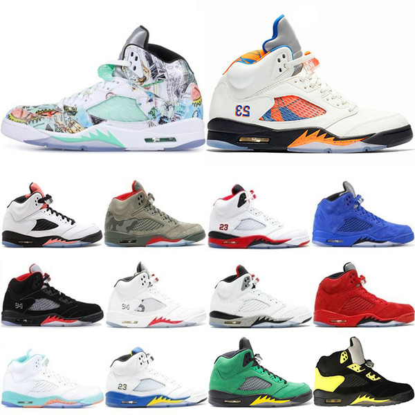 2019 New 5 5s Mens Basketball Shoes Camo Light Aqua Oregon Ducks Black Metallic Top Quality Designer Shoe Sports Trainers Sneakers 40-47