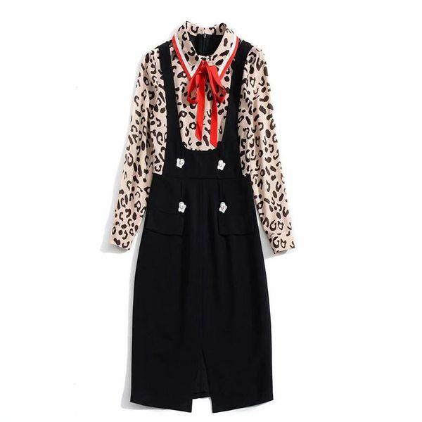 2019 Spring Long Sleeve Turn-Down Collar Leopard Print With Ribbon Tie-Bow Lady Mid-Calf Dresses Luxury Runway Dresses N26K111609