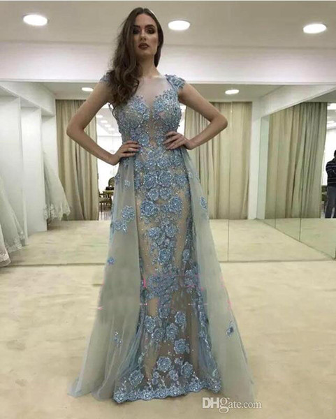 2019 Glamorous Cap-Sleeves Mermaid Evening Dresses Sheer Neck Beaded Pearls Arabic Formal Gowns Overskirt Hollow Back Prom Gowns Plus Size