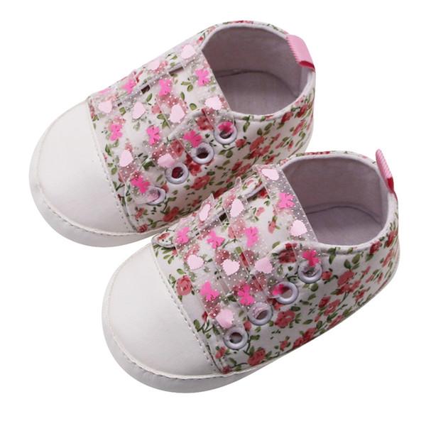 Bebés Meninas Criança Calçados Flores Imprimir Shoes Lace-up Casual Sneakers Primeira Walkers macia Sole Flats antiderrapante miúdos Tênis 0-18M A20