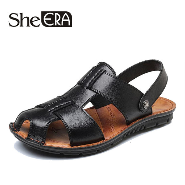 2019 Cow Leather Men Sandals Black/Brown Sewing Beach Shoes Men Cool Summer Shoes Breathable Mens Leather Sandals size 38-47