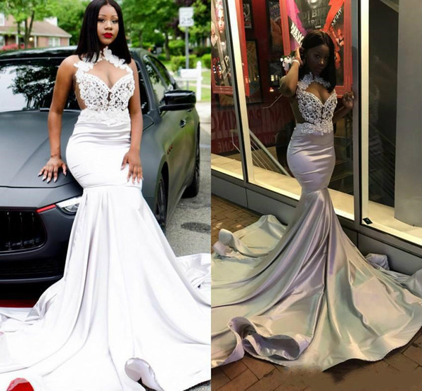 Sexy African Mermaid Prom Dresses 2019 New Halter Neck Top Lace Appliqued Sequins Beads Charming Sheer Backless Evening Party Gowns Cheap