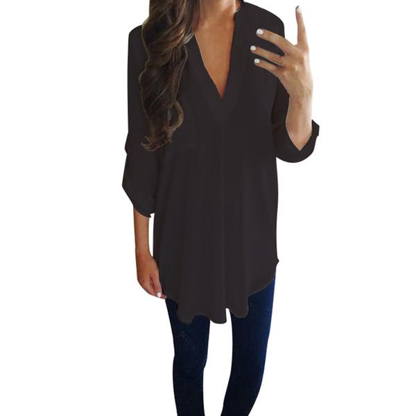 Nuevo 2019 tendencia de moda de alta gama de la venta caliente de las señoras de las mujeres ocasionales de gasa de manga larga con cuello en v camiseta de las mujeres modelos harajuku