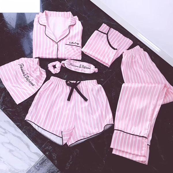 Femmes Femme de nuit lingeries rose 7 Pieces femmes pyjamas Ensembles en satin de soie Lingerie Homewear nuit Pyjama de Bell Pijamas Pour Femme