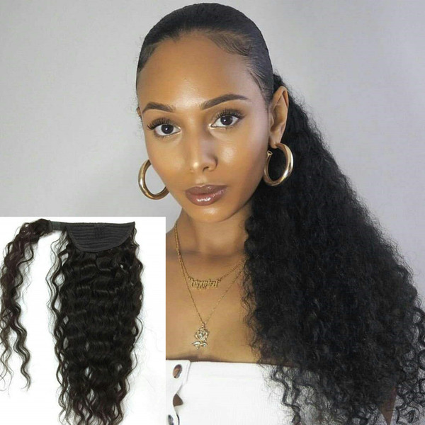 Ponytail Hairstyles Clip In Ponytail Extension Wrap Around Curly Hair Extension 18 Inch Remy Human Hairpiece Off Black 120g Ponytail Hair Extensions